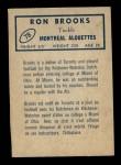 1962 Topps CFL #78  Ron Brooks  Back Thumbnail