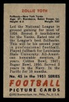 1951 Bowman #45  Zollie Toth  Back Thumbnail