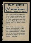 1962 Topps CFL #91  Marv Luster  Back Thumbnail