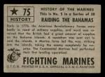 1953 Topps Fighting Marines #75   Raiding The Bahamas Back Thumbnail