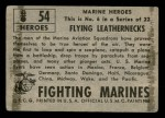 1953 Topps Fighting Marines #54   Flying Leathernecks Back Thumbnail