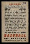 1951 Bowman #262  Gus Zernial  Back Thumbnail