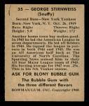 1948 Bowman #35  George Snuffy Stirnweiss  Back Thumbnail
