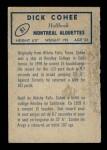 1962 Topps CFL #81  Dick Cohee  Back Thumbnail