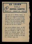 1962 Topps CFL #89  Ed Learn  Back Thumbnail