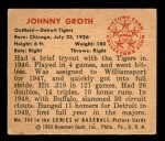 1950 Bowman #243 CR Johnny Groth  Back Thumbnail