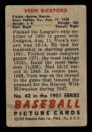 1951 Bowman #42  Vern Bickford  Back Thumbnail