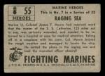 1953 Topps Fighting Marines #55   Raging Sea Back Thumbnail