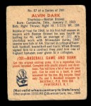 1949 Bowman #67  Al Dark  Back Thumbnail