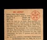1950 Bowman #215 CR Eddie Lopat  Back Thumbnail
