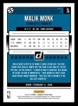 2018 Donruss #28  Malik Monk  Back Thumbnail
