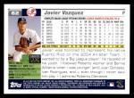 2005 Topps #62  Javier Vazquez  Back Thumbnail