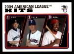 2005 Topps #338   -  Ichiro Suzuki / Michael Young / Vladimir Guerrero AL Hits Leaders Front Thumbnail