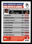 2005 Topps #340   -  Miguel Tejada / David Ortiz / Manny Ramirez AL RBI Leaders Back Thumbnail