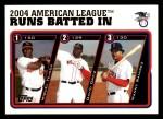 2005 Topps #340   -  Miguel Tejada / David Ortiz / Manny Ramirez AL RBI Leaders Front Thumbnail