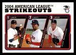 2005 Topps #342   -  Johan Santana / Pedro Martinez / Curt Schilling AL Strikeout Leaders Front Thumbnail