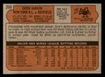 1972 Topps #269  Don Hahn  Back Thumbnail