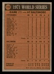 1972 Topps #223   -  Dave McNally 1971 World Series - Game #1 Back Thumbnail
