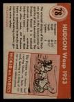 1954 Topps World on Wheels #78   Hudson Wasp 1953 Back Thumbnail