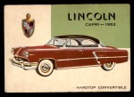 1954 Topps World on Wheels #84   Lincoln Capri 1953 Front Thumbnail