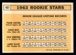 1963 Topps #407   -  Chico Ruiz / Frank Kostro / Larry Elliot / Dick Simpson Rookie Stars   Back Thumbnail