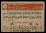1952 Topps #110  Dutch Leonard  Back Thumbnail