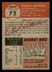 1953 Topps #72  Fred Hutchinson  Back Thumbnail
