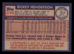 1984 Topps #230  Rickey Henderson  Back Thumbnail