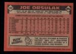 1986 Topps #102  Joe Orsulak  Back Thumbnail