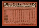 1986 Topps #185  Rollie Fingers  Back Thumbnail