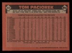 1986 Topps #362  Tom Paciorek  Back Thumbnail