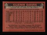1986 Topps #389  Glenn Davis  Back Thumbnail