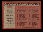 1986 Topps #591   -  Jackie Moore A's Team Checklist Back Thumbnail
