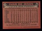 1986 Topps #178  Ivan DeJesus  Back Thumbnail