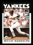 1986 Topps #455  Willie Randolph  Front Thumbnail