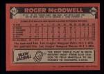 1986 Topps #547  Roger McDowell  Back Thumbnail