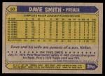 1987 Topps #50  Dave Smith  Back Thumbnail