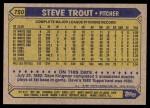 1987 Topps #750  Steve Trout  Back Thumbnail