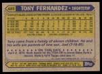 1987 Topps #485  Tony Fernandez  Back Thumbnail