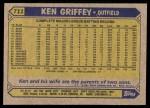 1987 Topps #711  Ken Griffey  Back Thumbnail