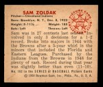 1950 Bowman #182 CR Sam Zoldak  Back Thumbnail