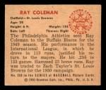 1950 Bowman #250 CR Ray Coleman  Back Thumbnail