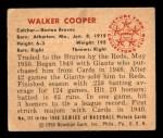 1950 Bowman #111  Walker Cooper  Back Thumbnail