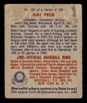 1949 Bowman #182  Hal Peck  Back Thumbnail