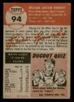 1953 Topps #94  Bill Kennedy  Back Thumbnail