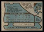 1979 Topps #191  Charlie Simmer  Back Thumbnail