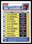 2004 Topps #340   -  Carlos Delgado / Alex Rodriguez / Bret Boone AL RBI Leaders Back Thumbnail