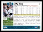 2005 Topps #168  Billy Koch  Back Thumbnail