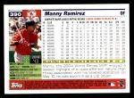 2005 Topps #390  Manny Ramirez  Back Thumbnail