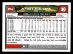2008 Topps #30  Jimmy Rollins  Back Thumbnail